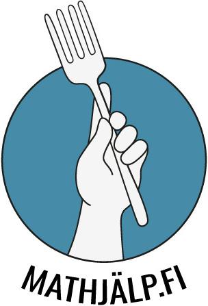 Ruoka-apu.fi -logo, med en hand som håller en gaffel